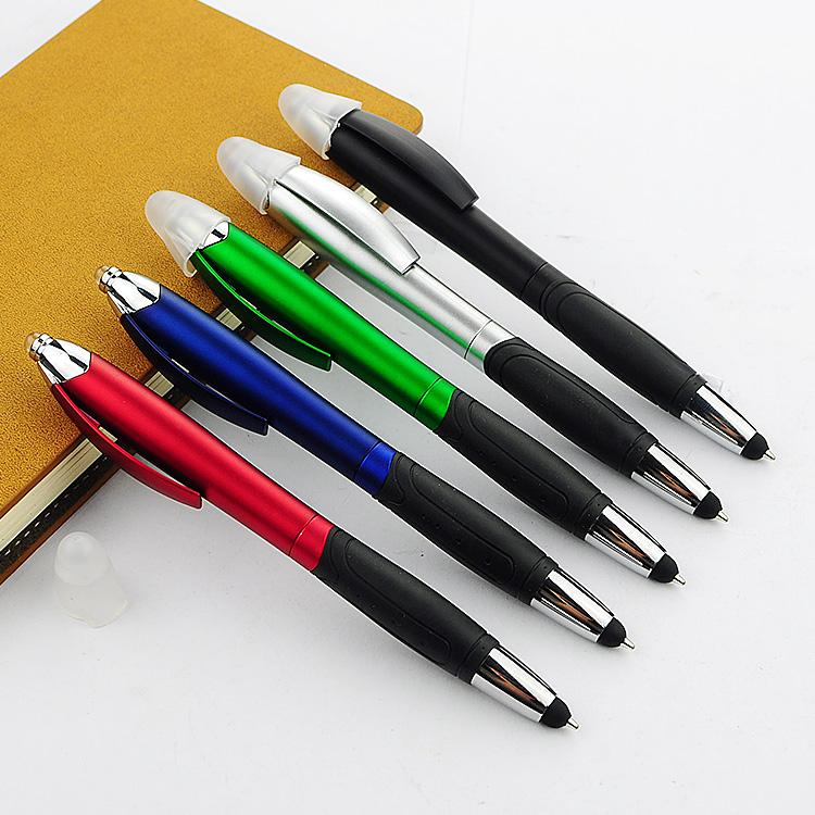 手机触屏圆珠灯笔  彩色喷漆乳胶护套促销广告礼品笔LOGO定制广告用笔131-LH619-1
