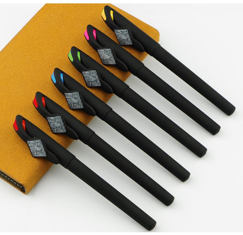 二维码礼品笔  周鲁白黑色磨砂广告笔 签字笔定制logo 喷胶笔杆印刷940E